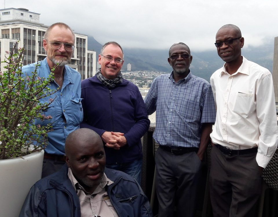 Members of the AIR project team during the 6th project meeting (from left to right: Prof Peter Freere (NMU), Prof Wilfried Zörner (THI), Mr Luxmore Madiye (UZ), Dr Ackim Zulu (UNZA); front: Mr Tauyanashe Chikuku (UZ)).