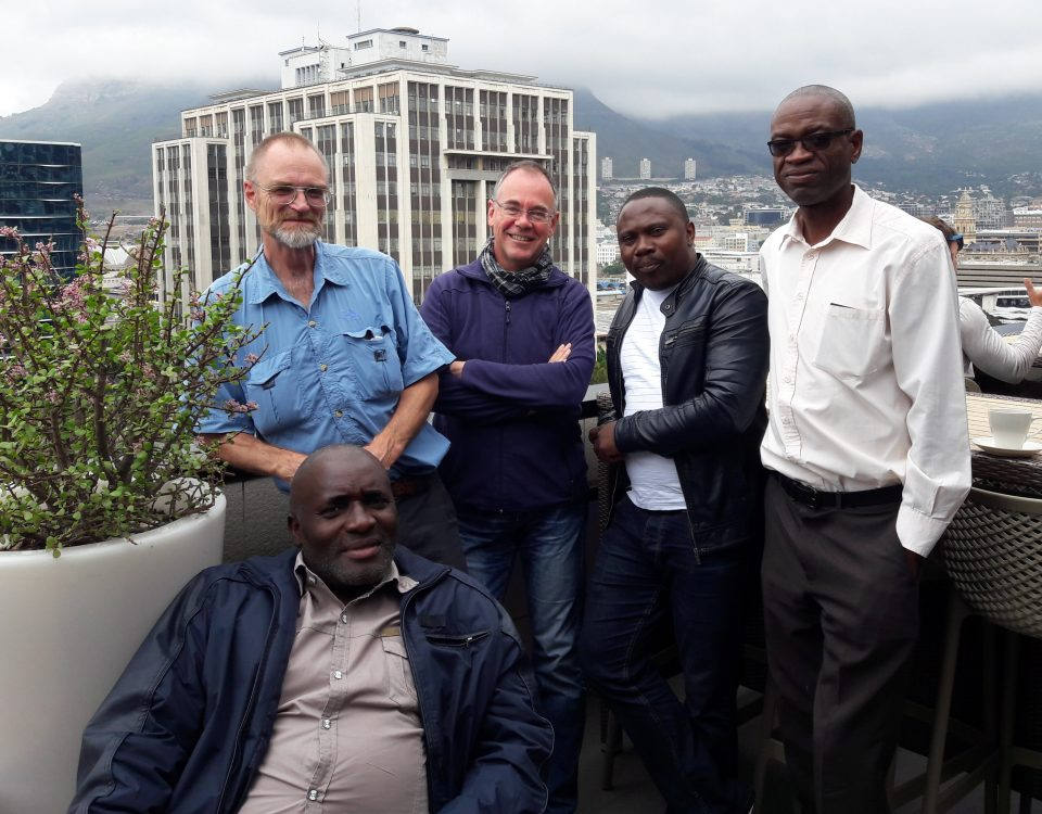 AIR team members during the 6th project meeting: Mr Tauyanashe Chikuku (UZ) (front), Prof Peter Freere (NMU), Prof Wilfried Zörner (THI), Mr Carl Tshamala (SU) and Dr Ackim Zulu (UNZA) (from left to right).